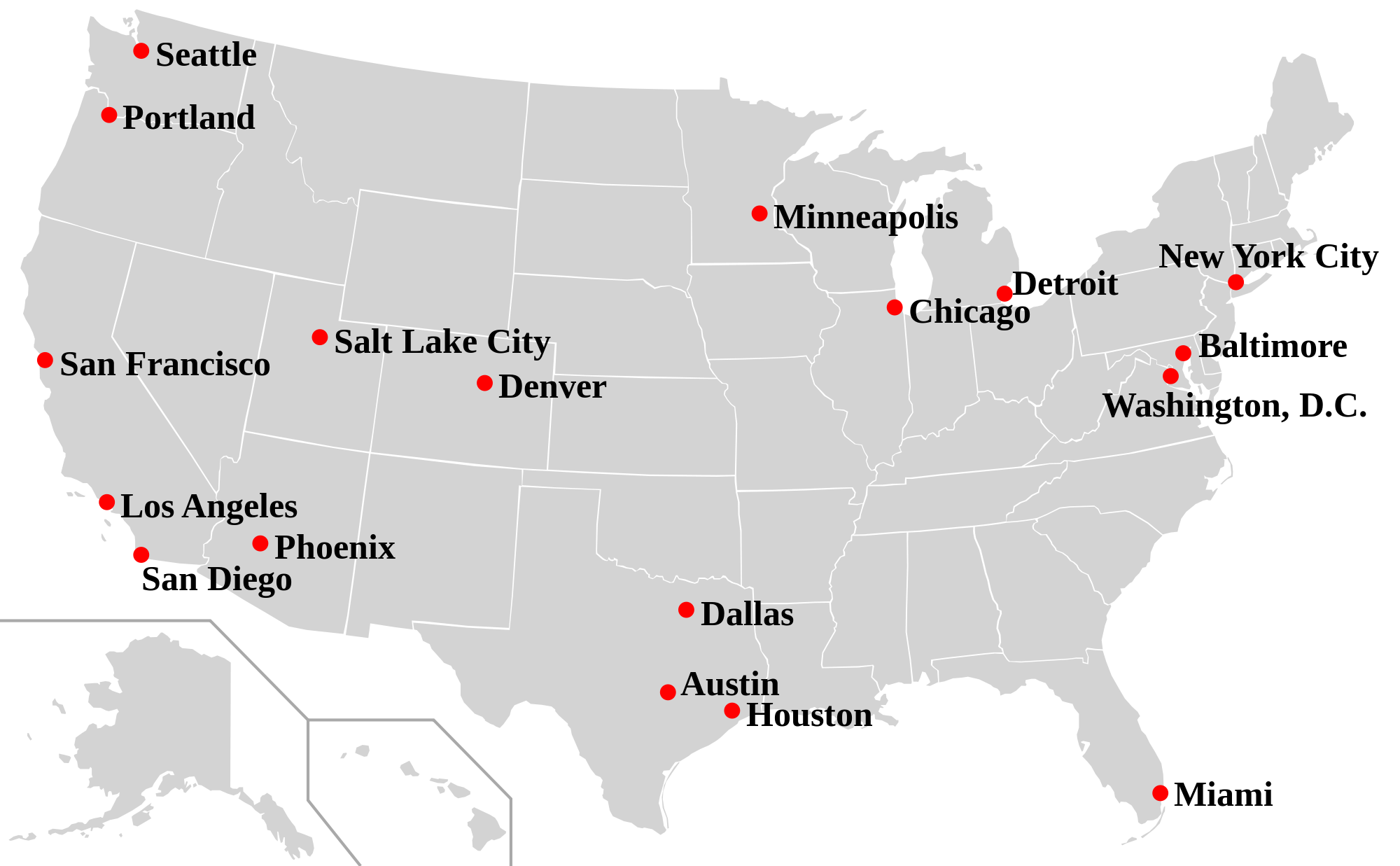 List Of Sanctuary Cities - Cities-in-the-us-map