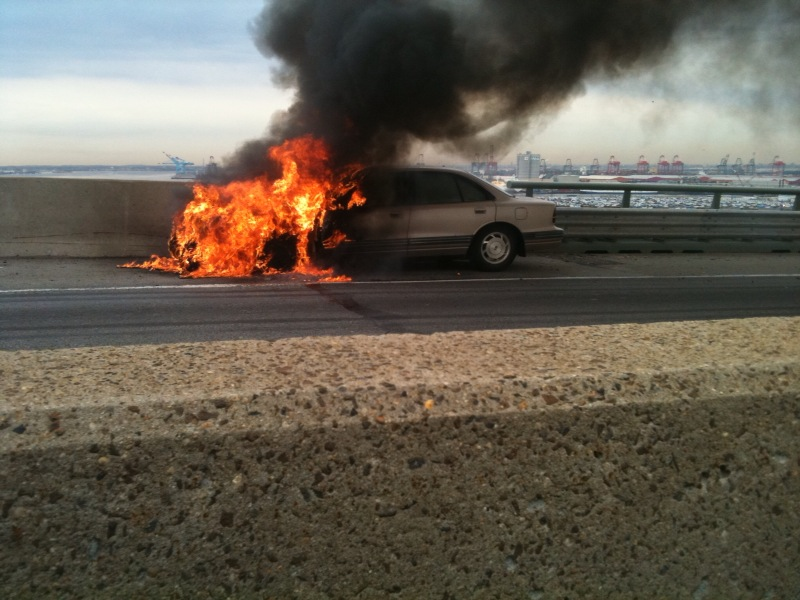 Car on Fire on JFK Memorial Bridge in Newark